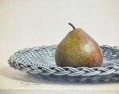 Kitchen Art, Rustic Food Photography, Fruit Picture, Country Farmhouse Decor, Wall Art Print | 'The Single Pear'