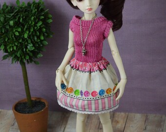 Candy print Skirt for slim MSD BJD, resinsoul, minifee, unoa