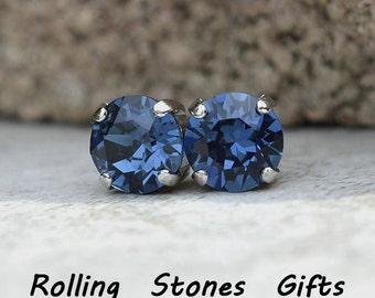 8.4mm Montana Blue, Swarovski, Crystal Earrings, Blue Crystal Studs, Rhodium Plated Settings,  Rhinestone Studs in Settings,  Crystal Studs
