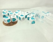 Cube bead blue hearts 50 pieces 7mm spacer beads colored hearts jewelry supplies Square heart beads