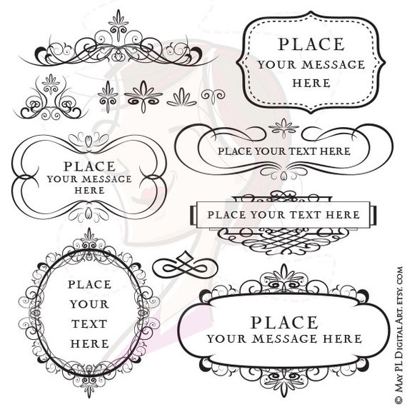 Digital Clipart Frames Flourish COMMERCIAL USE Vector Calligraphy DIY Wedding Invitation Design Scrapbook Embellishment Oval Rectangle 10156