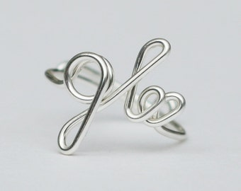glee ring, glee jewelry, wire word ring, birthday gift, best friends, sterling silver ring