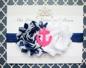 Navy blue and white nautical headband,  pink anchor girls headband