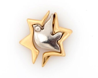 Star of David 925 Sterling Silver and 18K Yellow Gold Plated Pendant, Magen David, Dove, Peace, Judaica