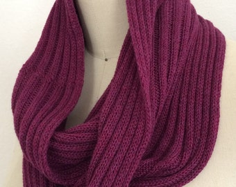 100% Cashmere Wine Heathered Ribbed Long Infinity Scarf