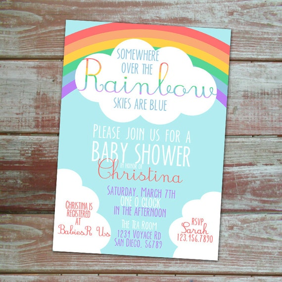 somewhere over the rainbow baby shower invitation thank you card