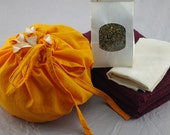 Lotus Birth Kit incl. cord cover for use with Lotus Birth - Orange silk lined with cream linen