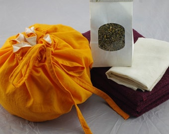 Orange Silk Lotus Birth Kits - lined placenta bag