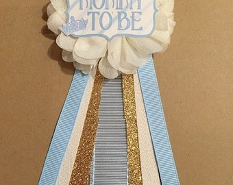 Little Prince Blue Baby Shower Pin Mommy to be pin Flower Ribbon Pin Corsage gold Glitter Rhinestone Mommy Mom New Mom its a boy crown