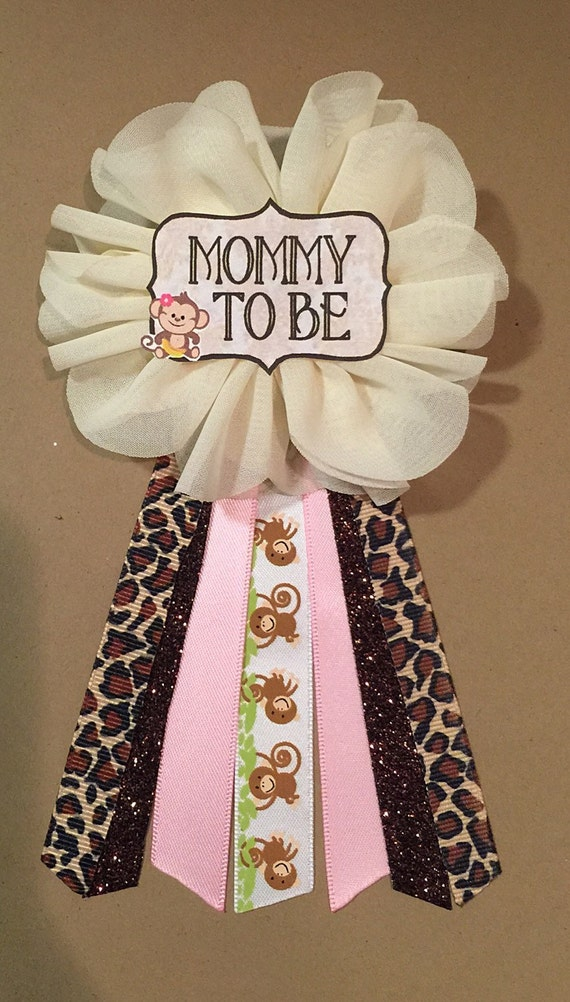 girl baby monkey baby shower pin mommy to be pin flower ribbon pin