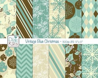 Vintage Blue Christmas Digital Papers -  Christmas Scrapbook Papers - Holiday Papers, Christmas Papers - INSTANT DOWNLOA