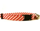 Cat Collar, RED STRIPES, Small Dog Collar, Handmade