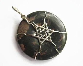 Star of David Gemstone Pendant, Judaism Donut Jewelry, Wire Wrapped, Black Jasper Gemstone, Israel, Chunky Boho Jewelry, CHOOSE Necklace