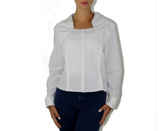 Bolero Blouse - Pintuck MINIMALIST STYLE TUXEDO White Bolero Illusion Collar Blouse Cotton Shirt Long Sleeve Top Avant Garde Peplum Medium M