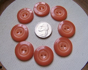 Set of 8 Vintage Shiny Plastic Peachy Pink Buttons