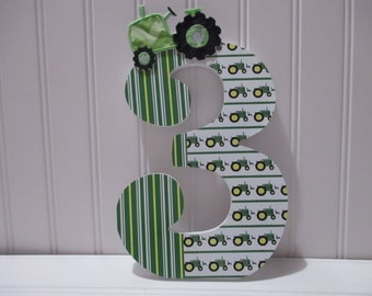 "Tractor, Farm NUMBERS, NUMERALS - 18.00 per number, 8-1/2"", perfect birthday party decorations and for monthly or yearly birthday pictures"