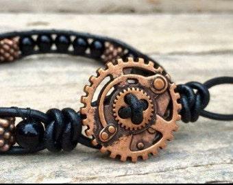 Copper Steampunk Mens bracelet