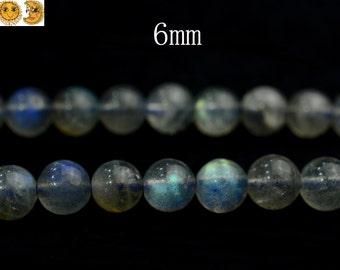 15 inch strand of  Grade AA Labradorite smooth round beads 6mm