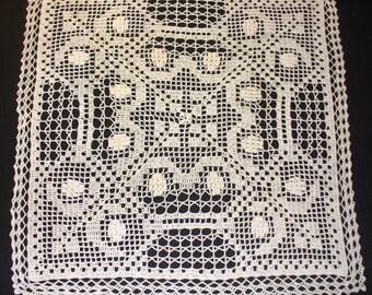 Handmade Natural Square Crochet Doily: Caper