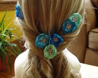 Flower Hair Pins, Custom Color Hair Pins, Bridesmaid Hair Pins, Bridal Party Hair Pins, Flower Hair Accessory
