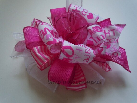 Breast Cancer Awareness Bow Cancer Awareness Bow Pink Ribbon Bow Pink October Awareness Wreath Bow