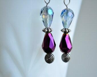 Purple Teardrop Faceted Glass Dangle Earrings Fantasy Style