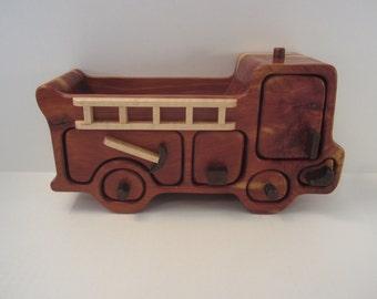Fire Truck Valet Box, Red Cedar, Hidden Drawer