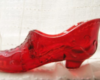 """Vintage Red Glass Shoe - 5"""" Red Glass Shoe - Antique Red Glass Shoe"""