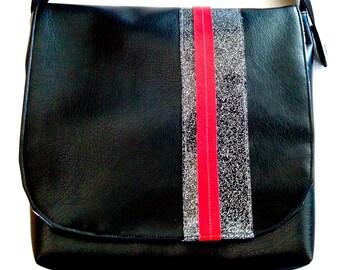 Messenger Bag Woman Purse Satchel Urban Punk Black Red White