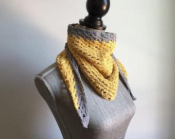 Crochet Cotton Handkerchief Scarf in Mustard and Gray