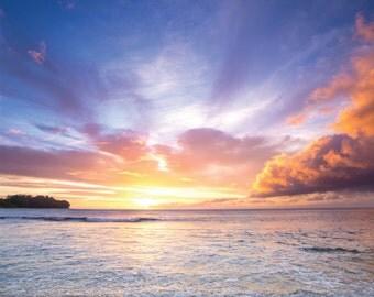 Sunset from Tunnels Beach, Kauai, Hawaii