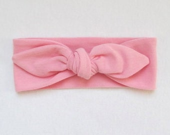 Stretchy Headband Made in the USA Knotted Super Soft Turban Stretchy Solid Baby Pink Knotty Sizes for Baby Toddler Adult