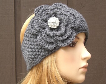 Crochet Flower Knit Headband Head Wrap Earwarmer Gray Grey with Sparkle Button,