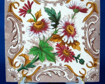 Victorian Architectural Tile Majolica Art Pottery 1890s  Wall Tile Trivet Aesthetic Movement Polychrome