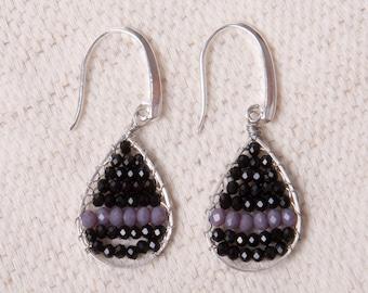 Crystal Weave Teardrop Earrings - Black and Lilac