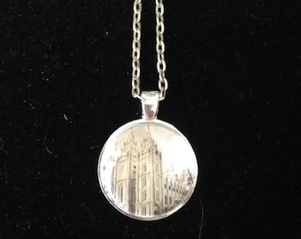LDS Temple Pendant Necklace or Keychain (Salt Lake City Ut)