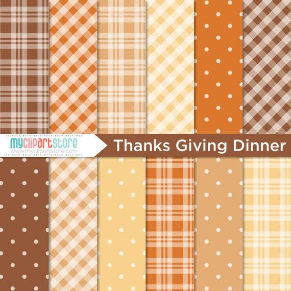 Digital Paper Thanksgiving Dinner Fall Autumn Thanksgiving