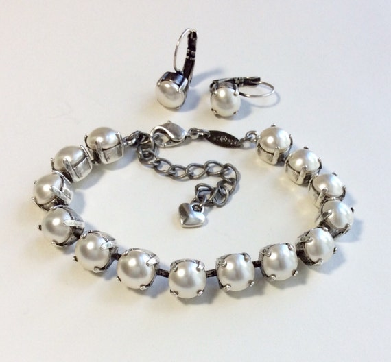 Swarovski Crystal Pearl Bracelet & Earring Set - Heirloom Look - 2 Piece Set - Gift for Bride - Designer Inspired   FREE SHIPPING