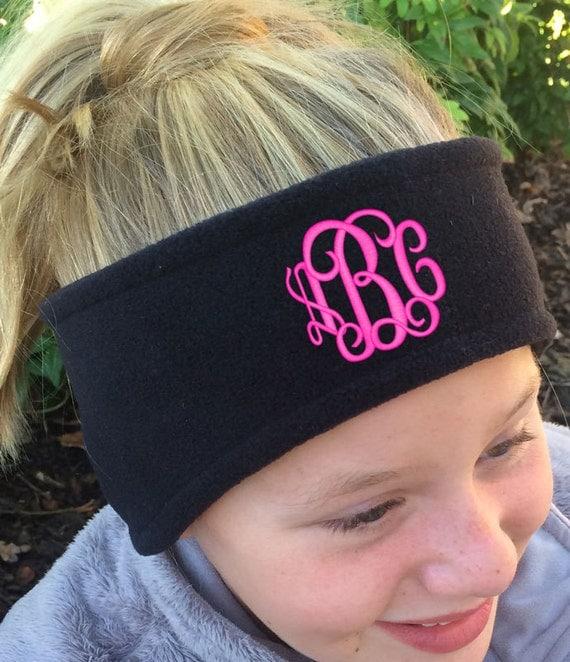 monogrammed black fleece headband ear warmer font shown