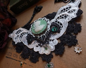 Textile Assemblage Collar with Vintage Lace, Embroidery, Cameo & More