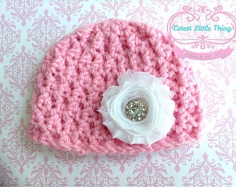 Newborn Hospital Hat, Baby Girl clothes, Crochet Baby girl Hat, Shabby Chic, Baby Girl Flower Hat,  photo prop,