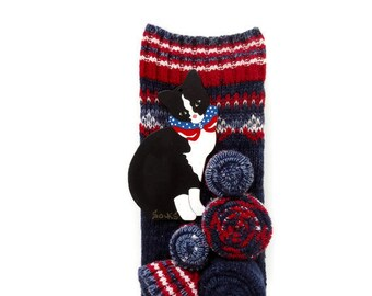 Socks The Cat Door Knob Sign Red White & Blue Cat Sign