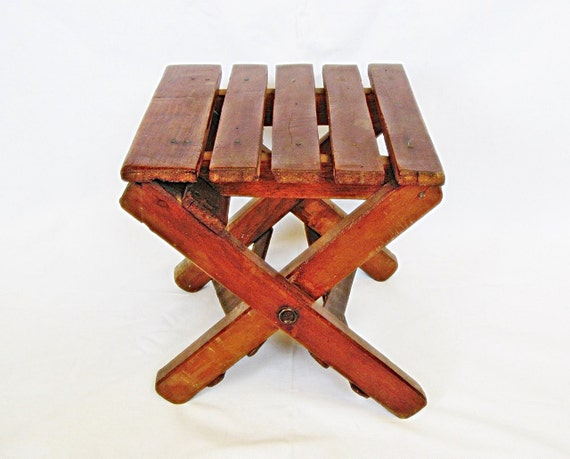 Vintage Wooden Folding Stool Small Child Stool Camping