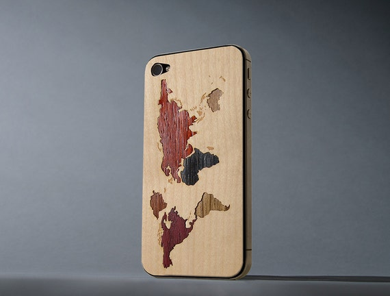 World Map Inlay iPhone 4/4s Real Wood Skin - Made in the USA - FREE Shipping
