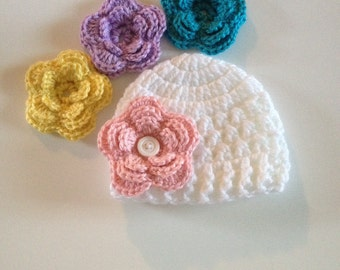 Baby Girl Hat Infant Girl Hat Newborn Girl Coming Home Outfit Baby Girl Clothes Newborn Photo Prop Baby Girl Flower Hat Made to Order