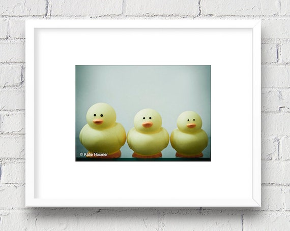 Playful Rubber Duckies: 5x7 Matted Photo, Kid's Room/Bathroom