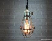 Minimalist Edison Pendant Light - Industrial Lighting - Cage Lamp - Edison Bare Bulb Ceiling Lamp