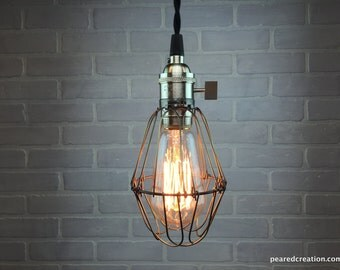 Minimalist Edison Pendant Light - Industrial Lighting - Cage Lamp - Edison Bare Bulb Ceiling Lamp