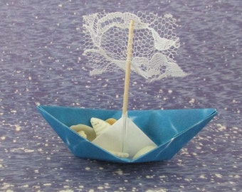 paper boat origami decoration photo prop art supply lot of 10 blue boats with lace sails beach wedding bridal favor