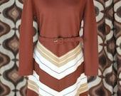 1970s stylish Winter Dress / L